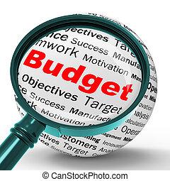 Budget Magnifier Definition Shows Financial Management Or busine