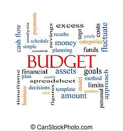 budget, ord, moln, begrepp