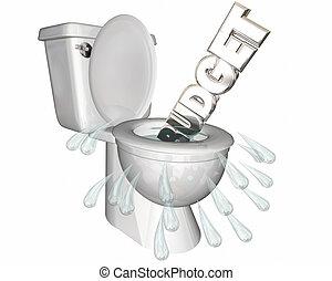 Budget Overspending Waste Money Flush Toilet 3d Illustration