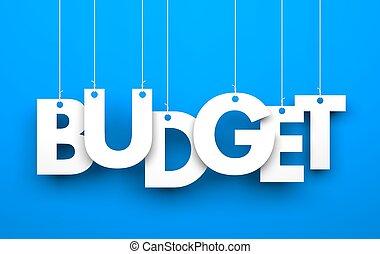budget., palavra, cadeias