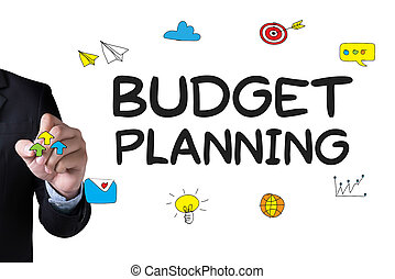 BUDGET PLANNING and Businessman drawing Landing Page on white background