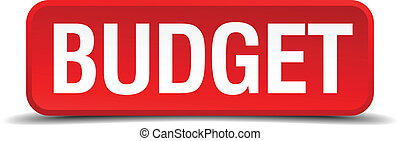 Budget red three-dimensional square button isolated on white background