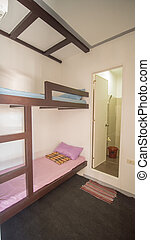 Budget room in a youth hostel in Asia on two beds.