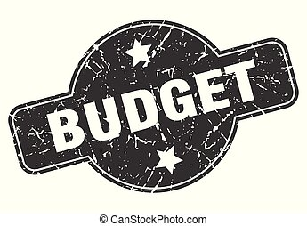 budget round grunge isolated stamp