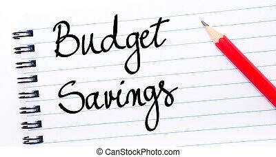 Budget Savings written on notebook page