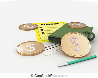 budget sign - budget illustration with diary and coins on a...