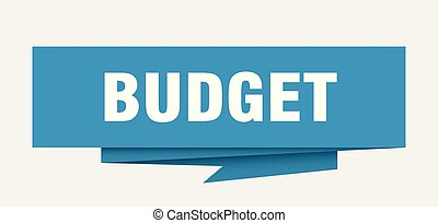 budget sign. budget paper origami speech bubble. budget tag. budget banner