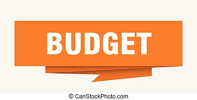 budget sign. budget paper origami speech bubble. budget tag...