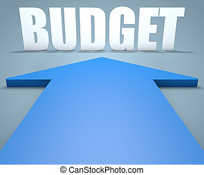 Budget - 3d render concept of blue arrow pointing to text.
