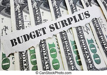 Budget Surplus concept - Budget Surplus message on hundred...