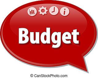 budget, tom, affär, diagram, illustration