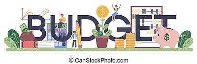 Budget typographic header. Student studying economics. Idea ...