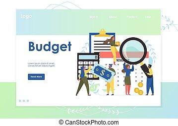 Budget vector website landing page design template