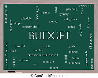 Budget Word Cloud Concept on a Blackboard