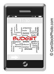 Budget Word Cloud Concept on Touchscreen Phone