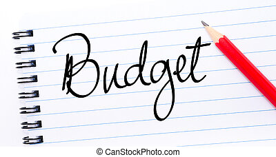 Budget written on notebook page