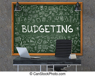 Budgeting - Hand Drawn on Green Chalkboard.