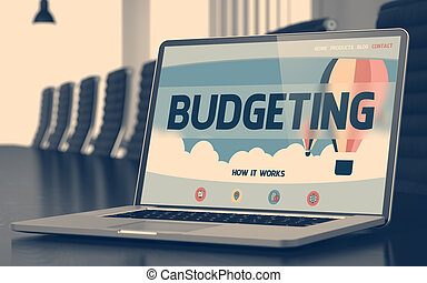 Budgeting on Laptop in Conference Hall. 3D.