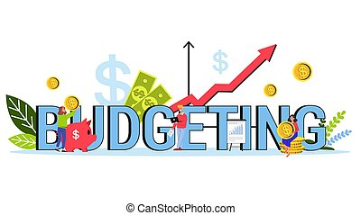 Budgeting single word banner concept. Idea of financial planning and investment. Currency balance and income. Isolated flat illustration vector