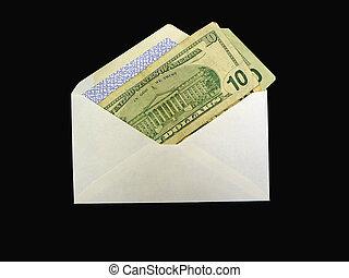 Budgeting - Money in envelope to pay bills.