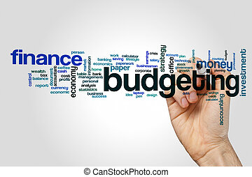 Budgeting word cloud concept on grey background