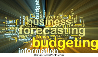 Budgeting wordcloud glowing