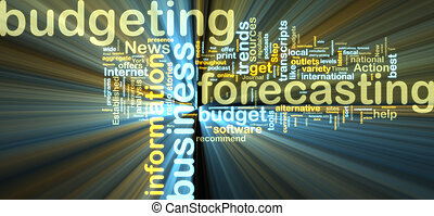 Budgeting wordcloud glowing - Word cloud tags concept...