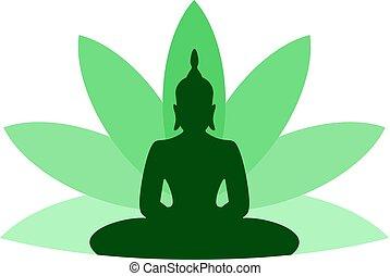 budha, symbole, vert, gentil