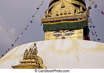 Budhhist Swayambhunath Stupa Monkey temple in Kathmandu, Nepal.