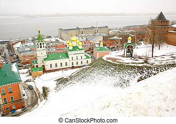 budi keresztelő, templom, és, kreml, nizhny novgorod, oroszország, alatt, november
