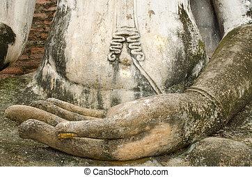 budismo, imagen, mano