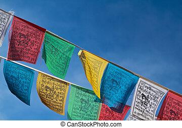 budista, banderas, oración