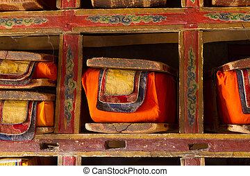 budista, libros, sagrado