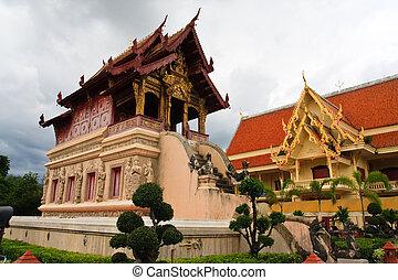budista, scriptures, biblioteca