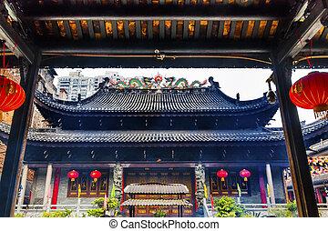 budista, tianwang, seis, árbol, templo, banyan, guangzho,...