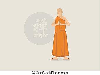 budista, vetorial, zen, monge, símbolo, ilustração