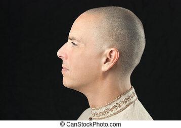 budista, vista lateral