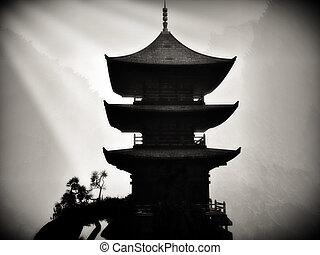 budista, zen, templo