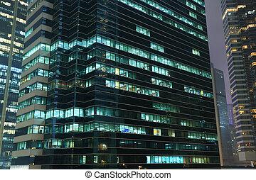 budova, úřad, večer