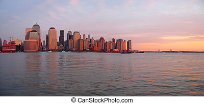 budova, člun, panoráma, nebe, odřít, břeh, západ slunce, new...