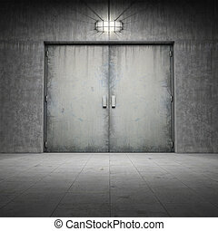 budova, betonovat, udělal, dveře, ??of