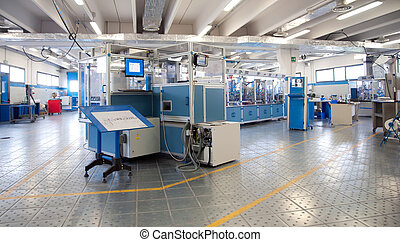 budova, e, -, továrna, automatizace, stroj, řádka
