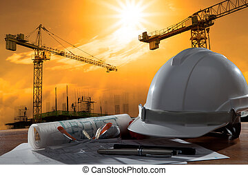 budova, helma, bezpečnost, dějiště, pland, dřevo, strůjce, ...