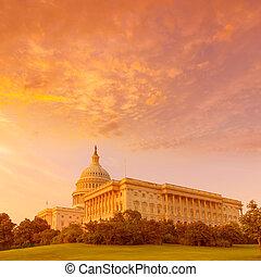 budova, hlavní, kongres, washington dc, nám, západ slunce