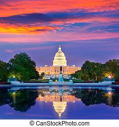 budova, hlavní, kongres, washington dc, západ slunce