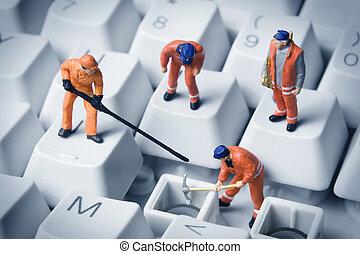 budova, jeden, malý, tech, povolání