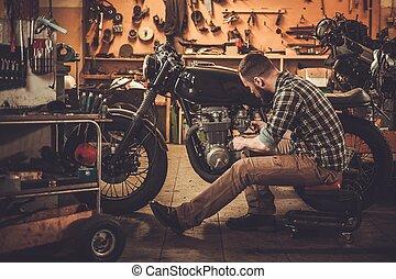 budova, móda, vinobraní, cafe-racer, zvyk, garáž, motocykl,...