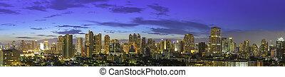 budova, malba, umění, centrum, povolání, město, panoráma, moderní, dodat, work., bangkok, message., silný, design, text, twilight., pozadí
