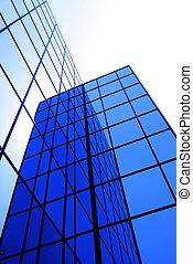 budova, okna, zrcadlit, moderní, úřad