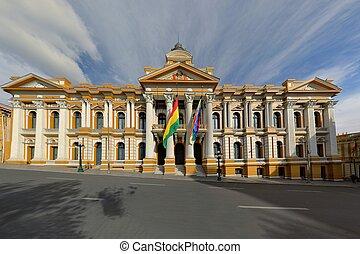 budova, paz, vláda, bolivijský, los angeles